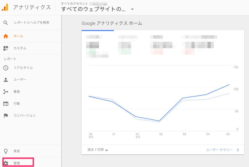 Google Analyticsにログイン後、画面左下の歯車マーク「管理」をクリックしてください。の説明図