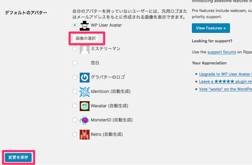 Wp User Avatarの編集画面(画面キャプチャー)
